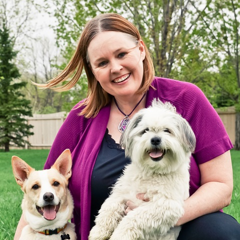 Cathy has two rescue dogs, Chancho and Oscar.