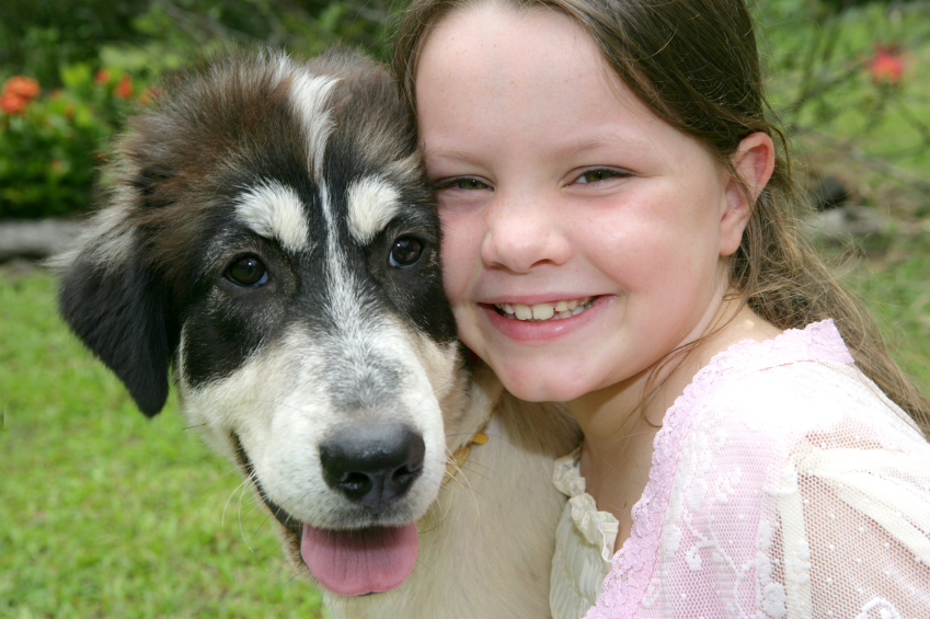 Dog with a child