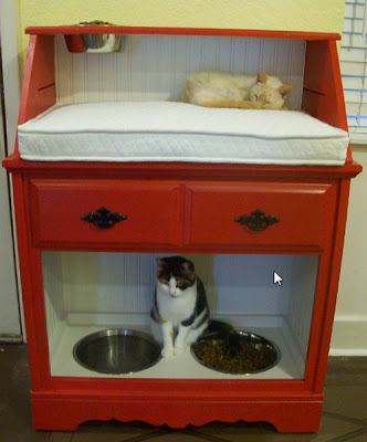 Pet Station Made from Secretary Desk