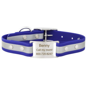 reflective-scrufftag-personalized-dog-collar-blue