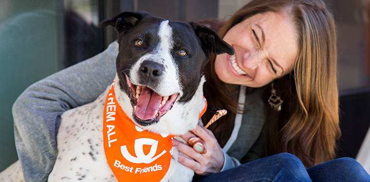 Best Friends Animal Society Volunteer with Dog