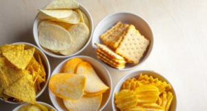 Bowls of Chips and Crackers