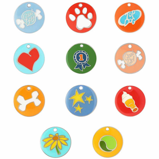 dog tags with colorful designs