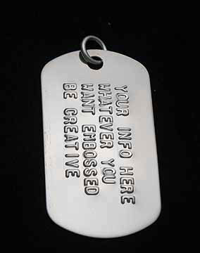 image of an embossed dog tag